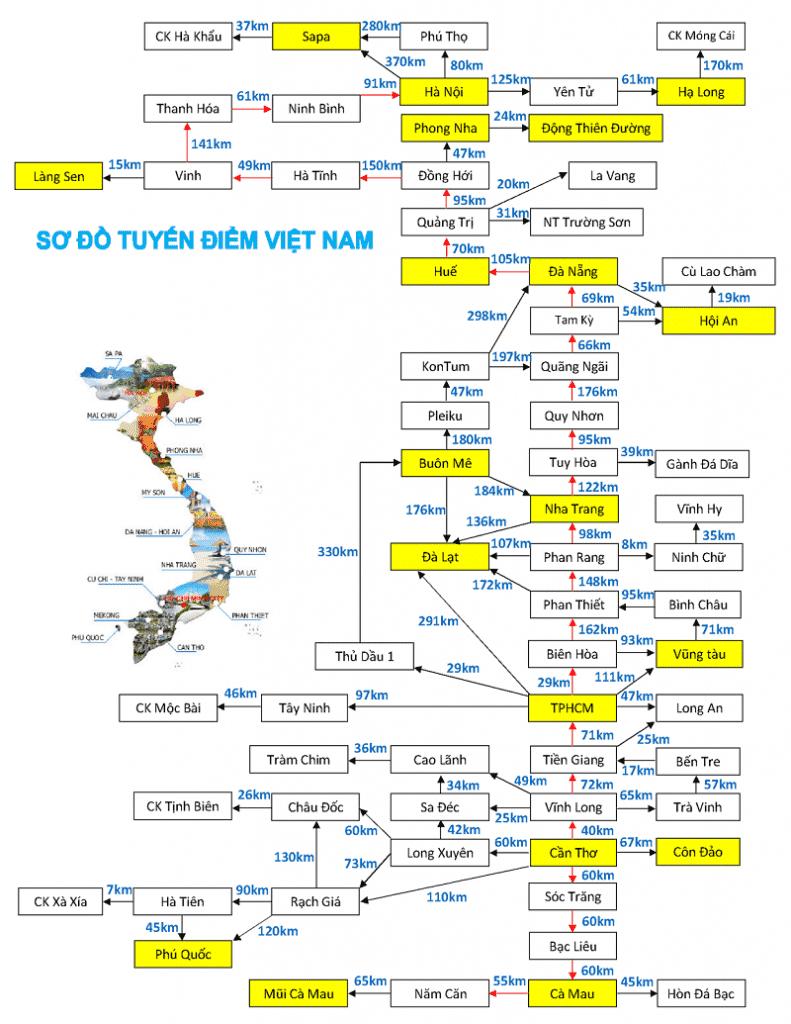 Bản đồ du lịch chung Việt Nam